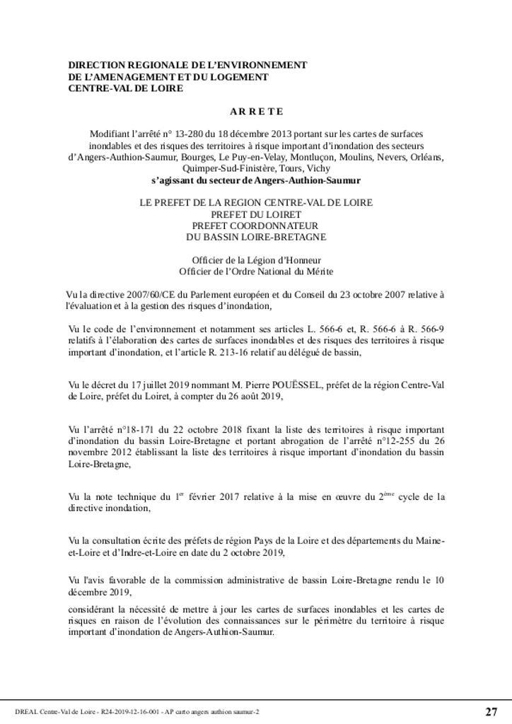 Directive inondations Bassin Loire-Bretagne : Cartes de surfaces inondables et des risques des territoires à risque important (TRI) des secteurs d'Angers-Authion-Saumur, Bourges, Le-Puy-en-Velay, Montluçon, Moulins, Nevers, Orléans, Quimper-Sud-Finistère, Tours, Vichy. |