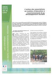 L'action des associations en matière d'éducation à l'environnement et au développement durable | DIRECTION REGIONALE DE L'ENVIRONNEMENT, DE L'AMENAGEMENT ET DU LOGEMENT CENTRE-VAL DE LOIRE