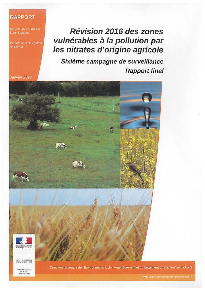 Révision 2016 des zones vulnérables à la pollution par les nitrates d'origine agricole : sixième campagne de surveillance - Rapport final |