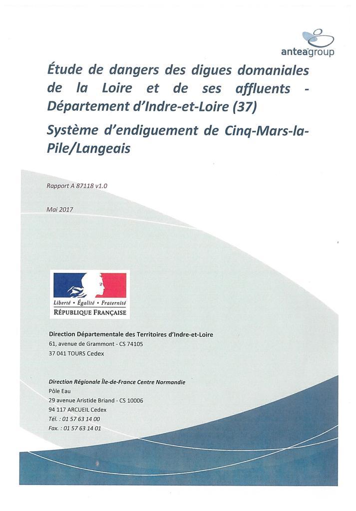 Étude de dangers des digues domaniales de la Loire et de ses affluents - Département d'Indre-et-Loire (37) - Système d'endiguement de Cinq-Mars-la-Pile/Langeais |