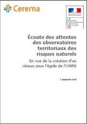 Écoute des attentes des observatoires territoriaux des risques naturels en vue de la création d'un réseau sous l'égide de l'ONRN | RIVAL Fabien