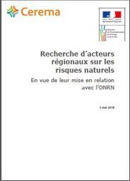 Recherche d'acteurs régionaux sur les risques naturels en vue de leur mise en relation avec l'ONRN | RIVAL Fabien