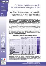 Les immatriculations mensuelles de véhicules neufs en Pays de la Loire. Avril 2018 : les ventes de modèles hybrides sont très dynamiques   DOUILLARD Denis