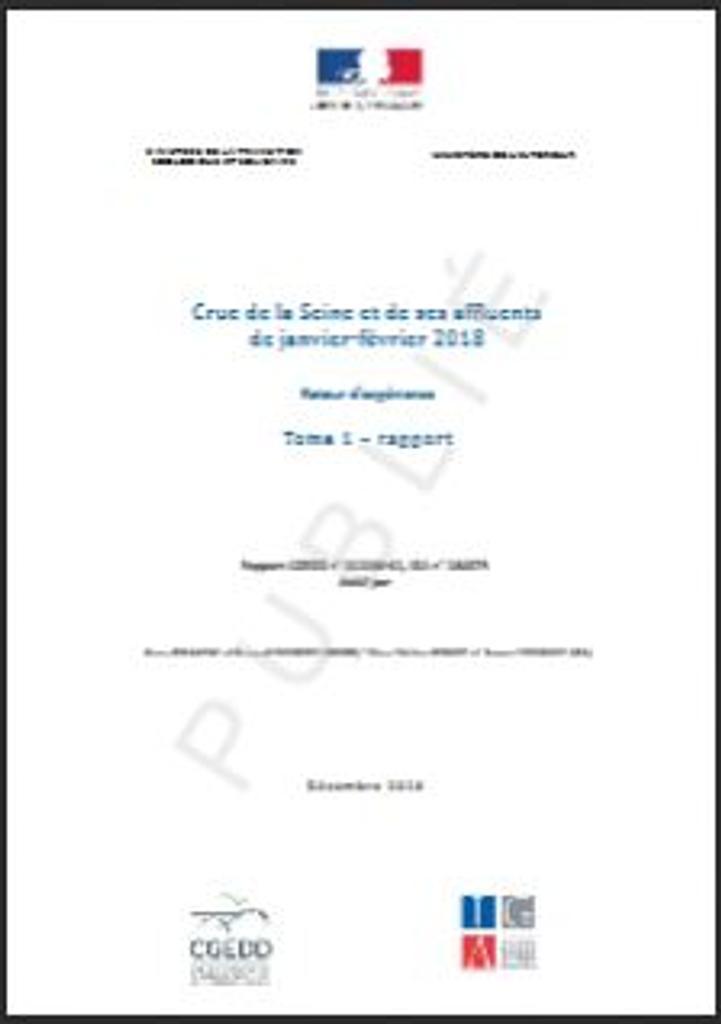 Crue de la Seine et de ses affluents de janvier-février 2018 - Retour d'expérience |