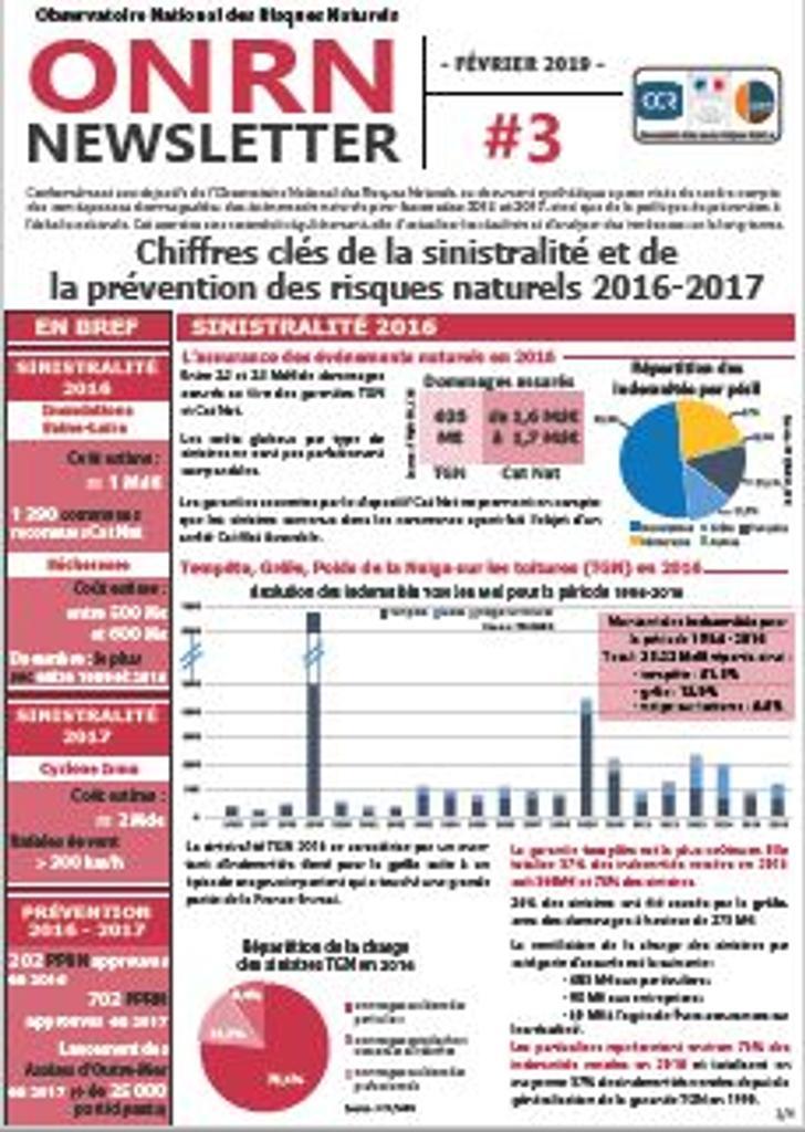Newsletter ONRN n°3 : Chiffres clés de la sinistralité et de la prévention des risques naturels 2016-2017 |