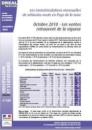 Les immatriculations mensuelles de véhicules neufs en Pays de la Loire. Octobre 2018 : les ventes retrouvent de la vigueur | DOUILLARD Denis