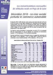 Les immatriculations mensuelles de véhicules neufs en Pays de la Loire. Décembre 2018 : la crise sociale perturbe le commerce automobile | DOUILLARD Denis