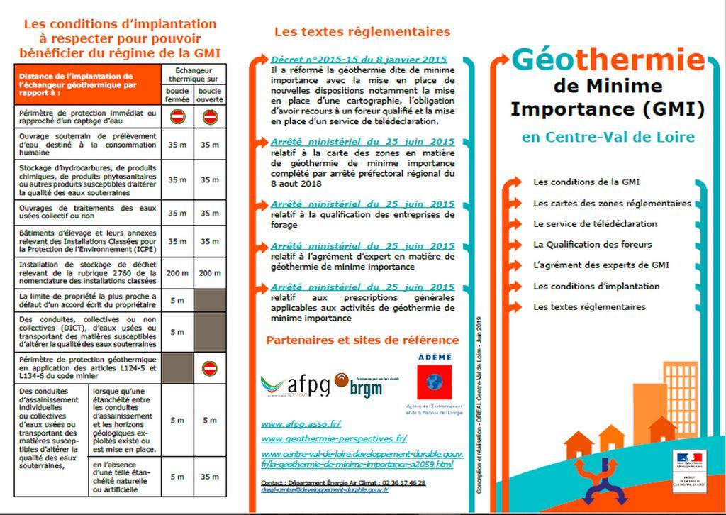 Géothermie de Minime Importance (GMI) en Centre-Val de Loire |