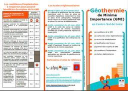 Géothermie de Minime Importance (GMI) en Centre-Val de Loire | DIRECTION REGIONALE DE L'ENVIRONNEMENT, DE L'AMENAGEMENT ET DU LOGEMENT CENTRE-VAL DE LOIRE