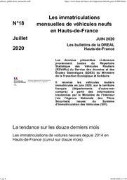 Les bulletins de la Dreal Hauts de France -n° 18- Les immatriculations mensuelles de véhicules neufs en Hauts-de-France juin 2020 | DREAL HAUTS-DE-FRANCE