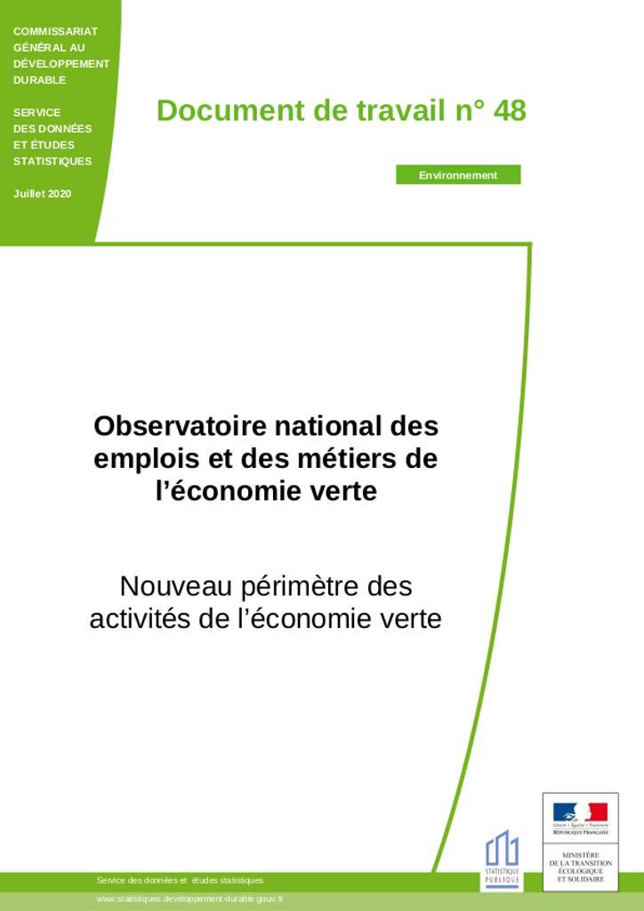 Observatoire national des emplois et des métiers de l'économie verte. Nouveau périmètre des activités de l'économie verte. |