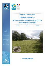 Sonneur à Ventre Jaune (Bombina variegata) : Restauration de corridors écologiques sur la commune de Ségrie-Version publique-2019   LIGUE POUR LA PROTECTION DES OISEAUX. Sarthe