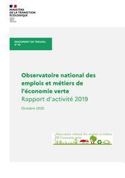 Observatoire national des emplois et métiers de l'économie verte. Rapport d'activité 2019 | MARGONTIER Sophie