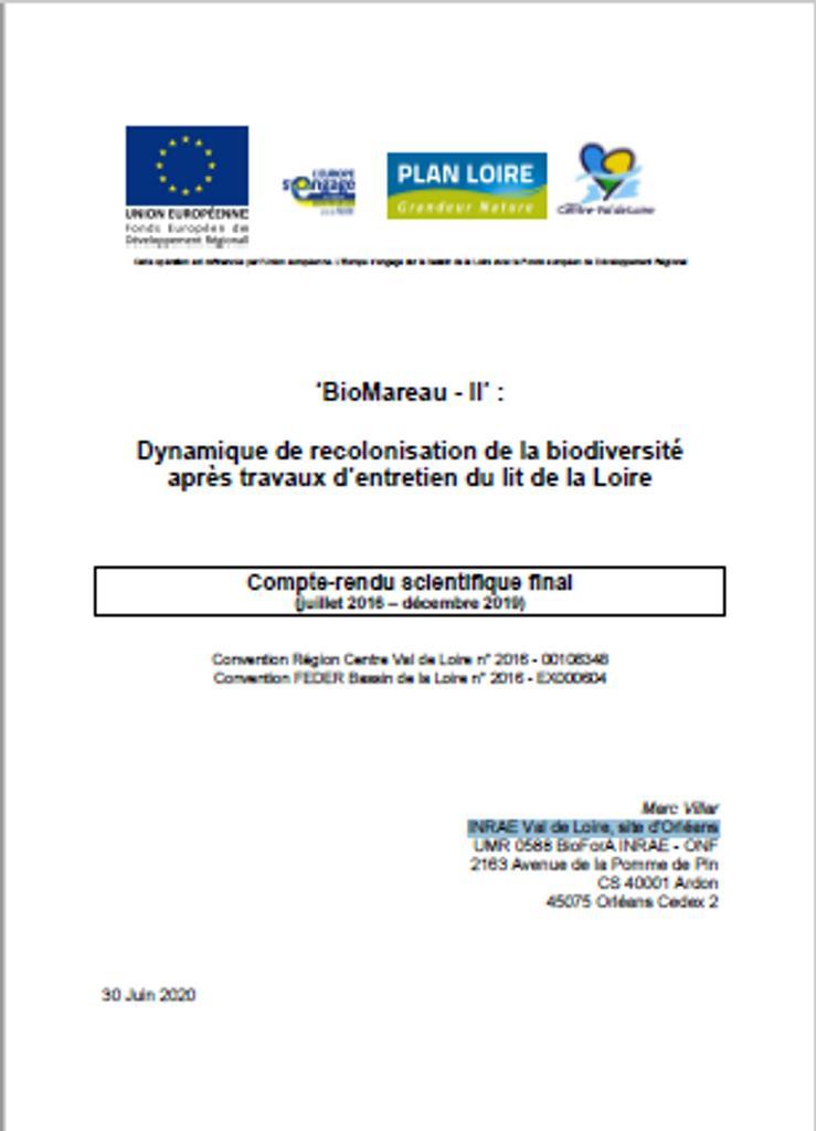 'BioMareau - II' : Dynamique de recolonisation de la biodiversité après travaux d'entretien du lit de la Loire - Compte-rendu scientifique final (juillet 2016 – décembre 2019) |