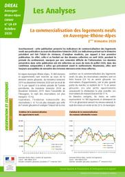 Les Analyses - La commercialisation des logements neufs en Auvergne-Rhône-Alpes - 2 trimestre 2020 – N° LA69 | DIRECTION REGIONALE DE L'ENVIRONNEMENT, DE L'AMENAGEMENT ET DU LOGEMENT AUVERGNE-RHÔNE-ALPES. CIDDAE