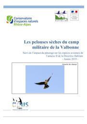 Les pelouses sèches du camp Militaire de la Valbonne Suivi de l'impact du pâturage sur les espèces aviennes de l'annexe II de la Directive Habitats - Année 2019 - | GAGET (Vincent)