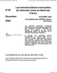 Les bulletins de la Dreal Hauts de France -n° 36- Les immatriculations mensuelles de véhicules neufs en Hauts-de-France octobre 2020 | DREAL HAUTS-DE-FRANCE