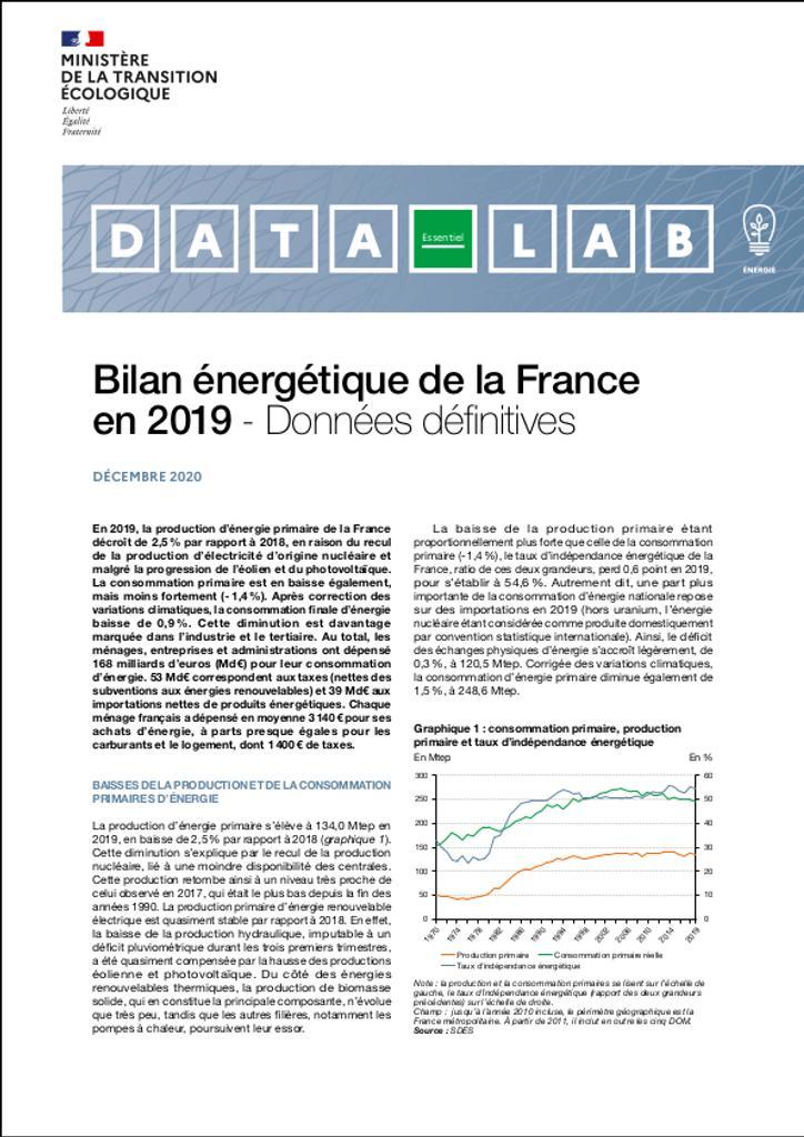 Bilan énergétique de la France en 2019 - Données définitives |