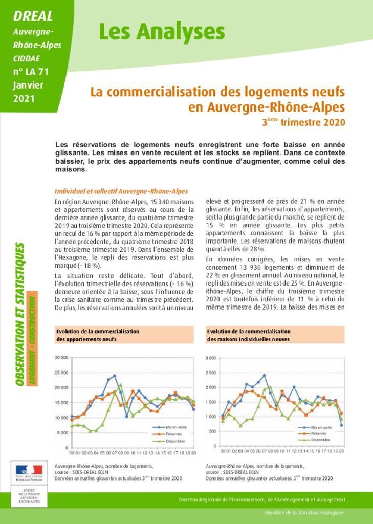 Les Analyses - La commercialisation des logements neufs en Auvergne-Rhône-Alpes - 3ème trimestre 2020 – N° LA71 |