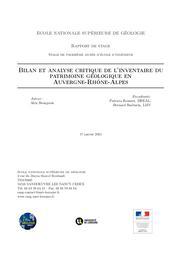 Bilan et analyse critique de l'inventaire du patrimoine géologique en Auvergne-Rhône-Alpes - Rapport de stage | BOURGEOIS (Alex)