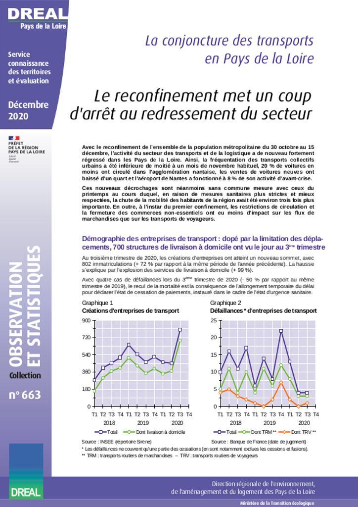 La conjoncture des transports en Pays de la Loire - Le reconfinement met un coup d'arrêt au redressement du secteur   DOUILLARD Denis