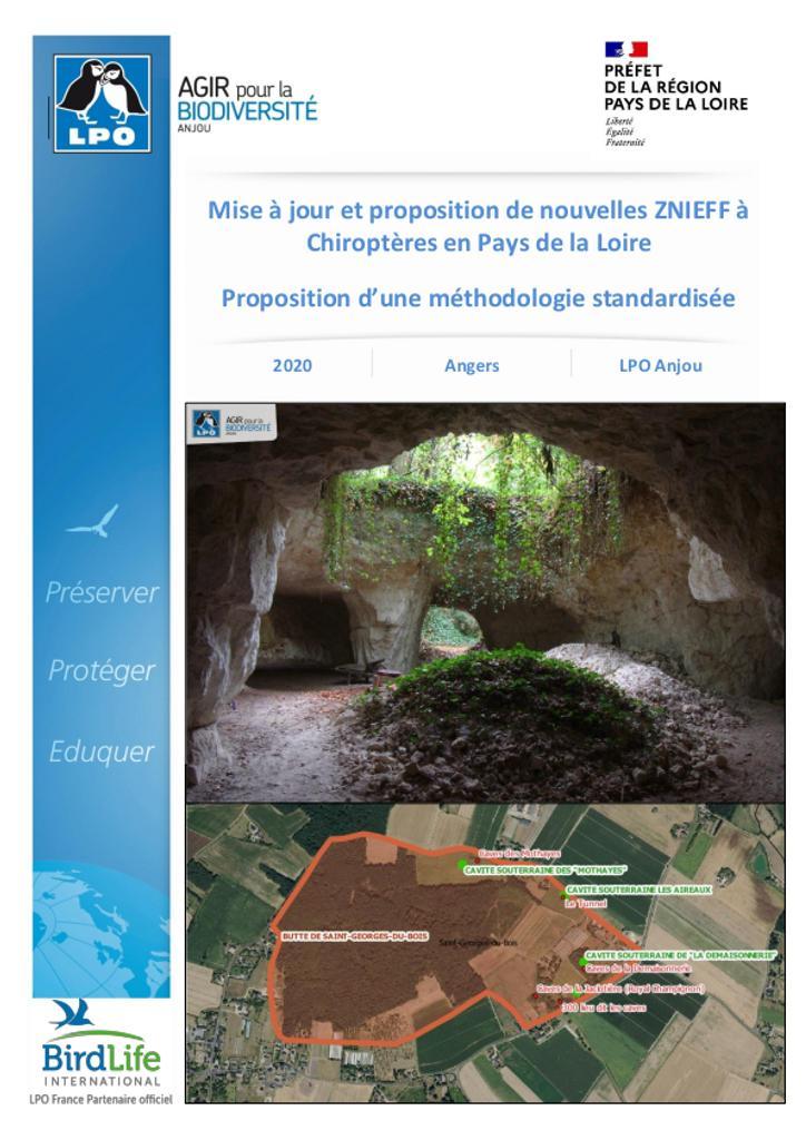 Mise à jour et proposition de nouvelles ZNIEFF à Chiroptères en Pays de la Loire - Proposition d'une méthodologie standardisée   LHOYER Kévin