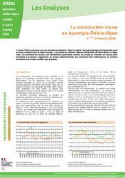 Les Analyses - La construction neuve en Auvergne-Rhône-Alpes 4ème trimestre 2020 N° LA 72 | DIRECTION REGIONALE DE L'ENVIRONNEMENT, DE L'AMENAGEMENT ET DU LOGEMENT AUVERGNE-RHÔNE-ALPES. CIDDAE