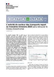 Conjoncture des transports. L'activité du secteur des transports repart au troisième trimestre 2020 sans retrouver le niveau d'avant-crise. | GUILLON Nathalie