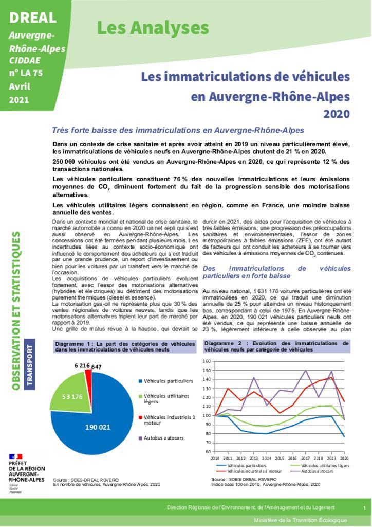Les Analyses - Les immatriculations de véhicules en Auvergne-Rhône-Alpes 2020 - N° LA75 |