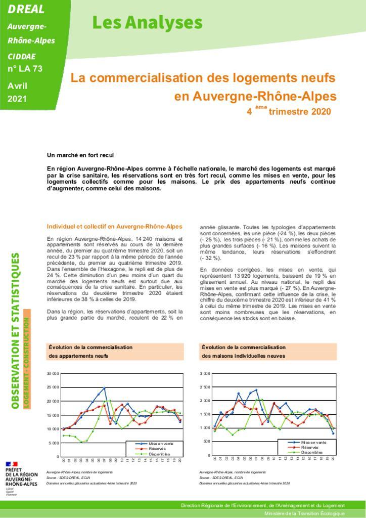 Les Analyses - La commercialisation des logements neufs en Auvergne-Rhône-Alpes - 4ème trimestre 2020 – N° LA73 |
