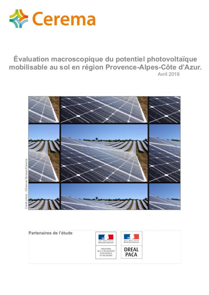 Évaluation macroscopique du potentiel photovoltaïque mobilisable au sol en région Provence-Alpes-Côte d'Azur |