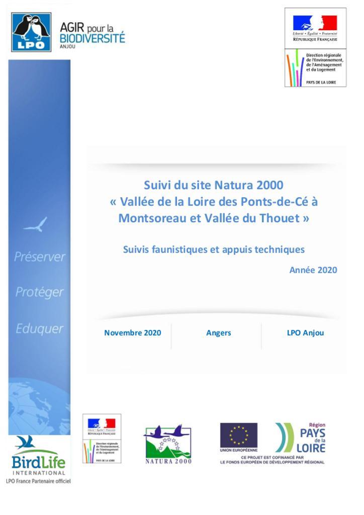 Suivi du site Natura 2000 « Vallée de la Loire des Ponts-de-Cé à Montsoreau et Vallée du Thouet ». Suivis faunistiques et appuis techniques. Année 2020.   LPO ANJOU