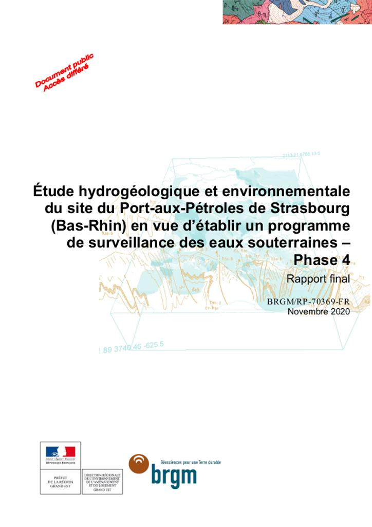 Étude hydrogéologique et environnementale du site du Port aux Pétroles de Strasbourg |